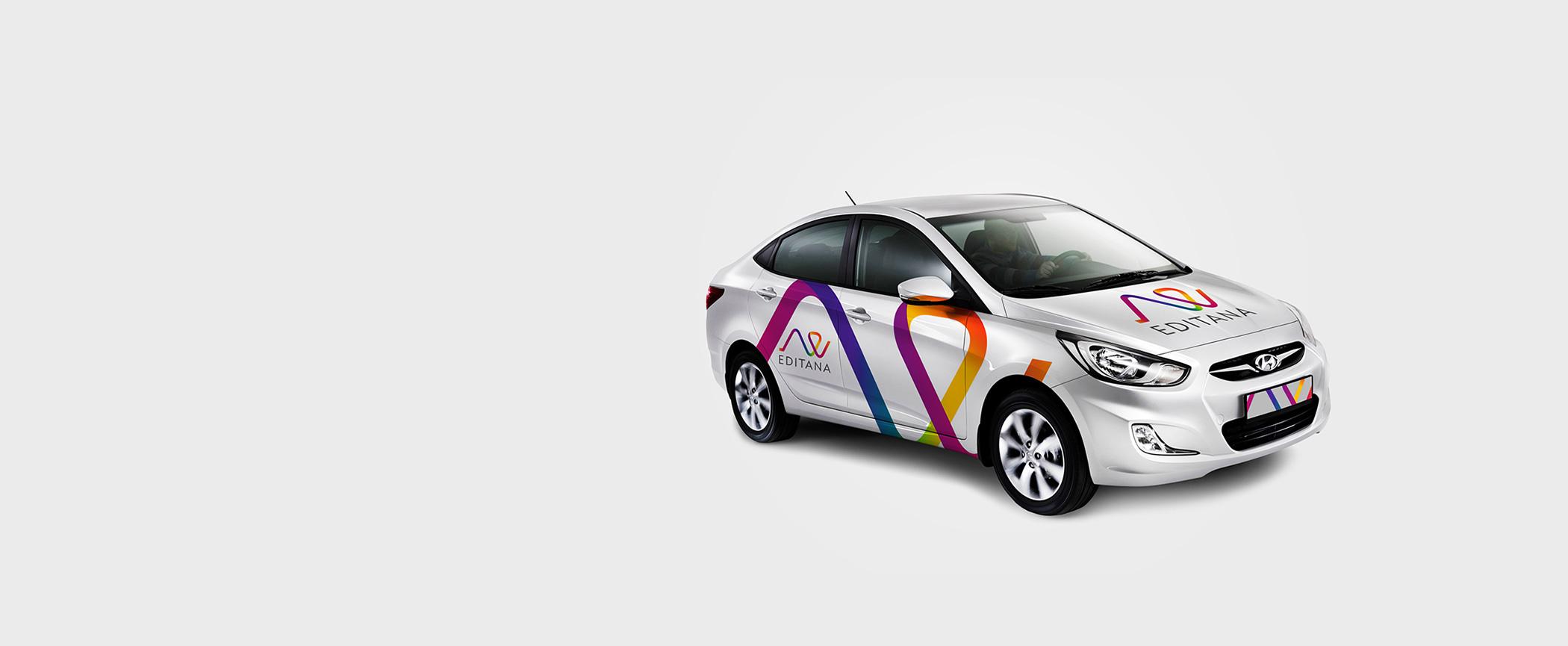 Editana Logo on Vehicle