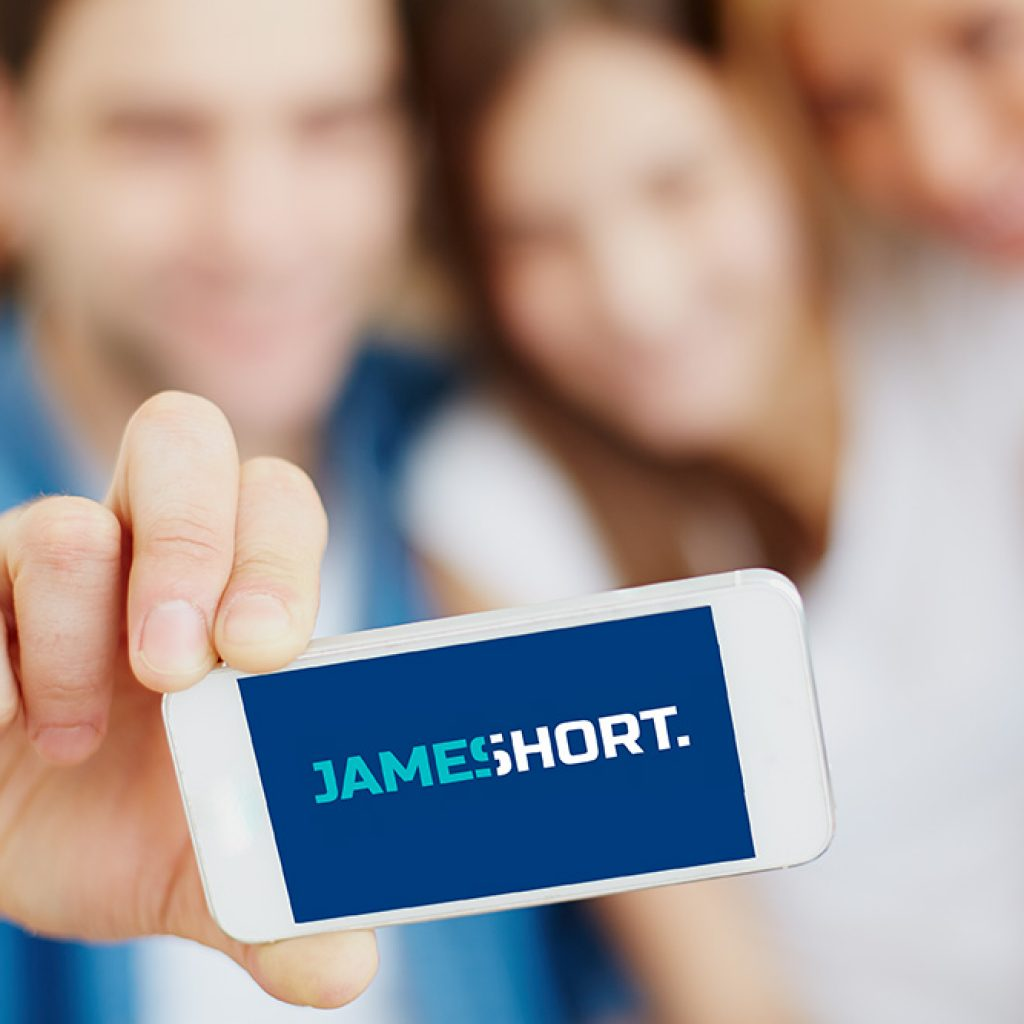 James Short Logo on Mobile Device
