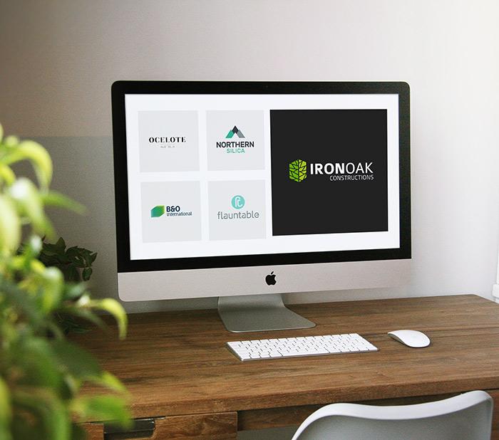 Logoland custom logo design work on computer screen