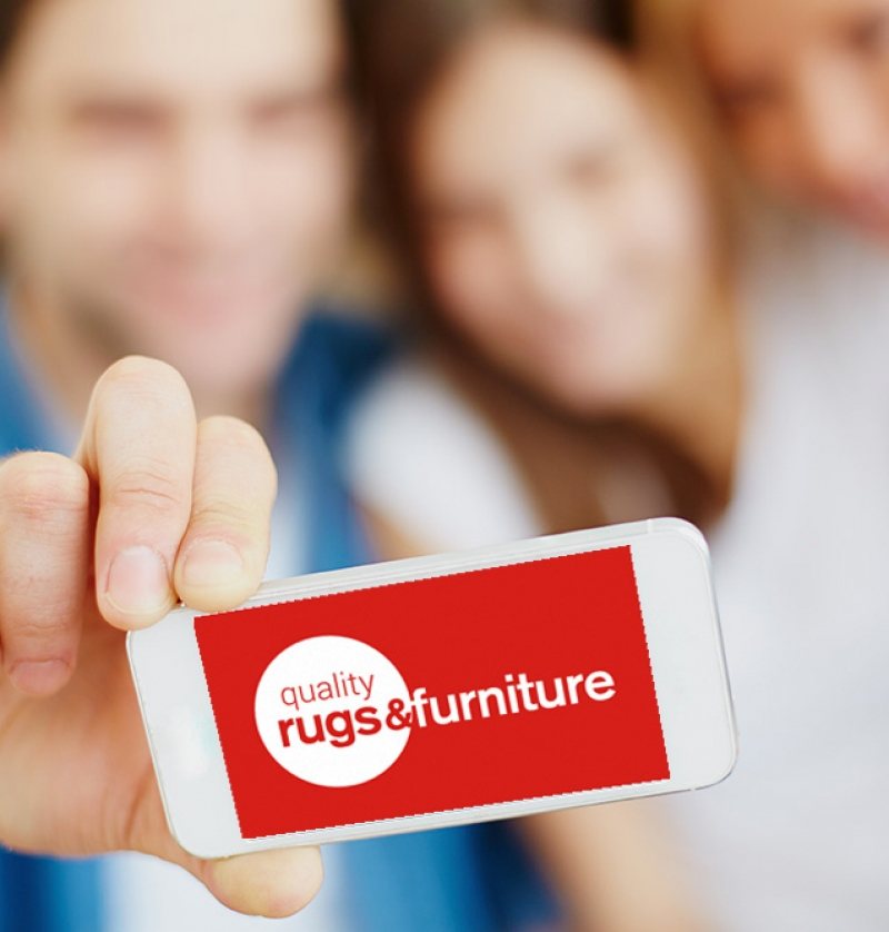 Quality Rugs & Furniture Logo on Mobile